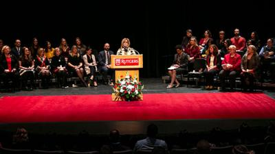 Rutgers School of Nursing–Camden Dean Donna Nickitas addresses students at the January 2019 Pinning Ceremony